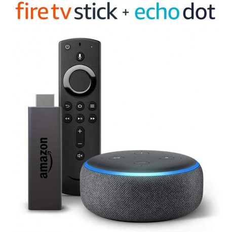 מארז חכם סטרימר  Amazon Fire TV Stick + הרמקול החכם Echo Dot דור 3