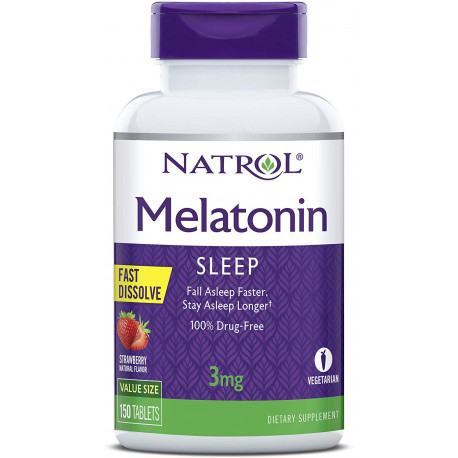 Natrol Melatonin Fast Dissolve Tablets, Helps You Fall Asleep Faster, Stay Asleep Longer, Easy to Take, Dissolves in Mou