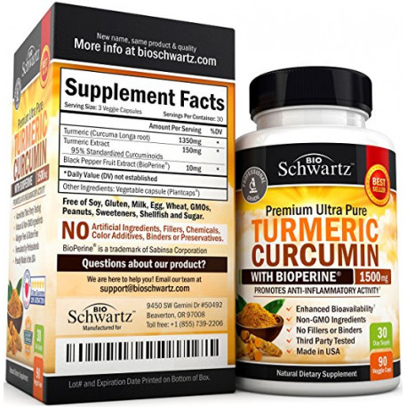 Turmeric Curcumin with Bioperine 1500mg. Highest Potency Available. Premium Pain Relief & Joint Support with 95% Standardized Curcuminoids. Non-GMO, Gluten Free Turmeric Capsules with Black Pepper : כמות - מוצר יחיד (1307449)